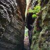 Narrow passage between two sandstone rocks