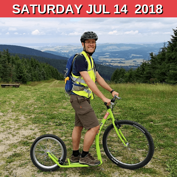 Let's ride on scooters from Mt. Jested!
